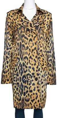 Roberto Cavalli Yellow Animal Print Synthetic Trench Coat L