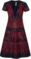Naeem Khan Floral Embroidered Faille Dress With Flared Skirt