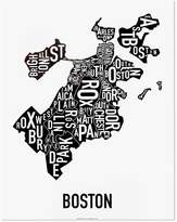 "Ork Posters Boston Neighborhoods Map, Black & White, 11"" x 14"""