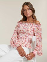 Forever New Tulia Shirred Body Bardot Top - Coral Water Floral - 4