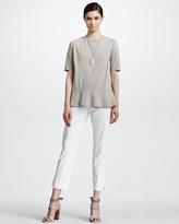 Brunello Cucinelli Cotton Twill Cropped Pants, Vanilla