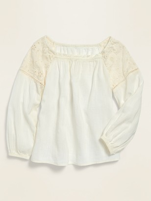 Old Navy Square-Neck Cutwork Top for Girls