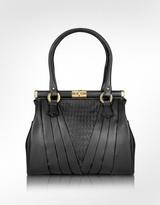 Black Woven Genuine Leather Twist Lock Bag
