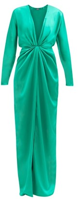 GAUGE81 Shibu V-neck Draped-front Satin Maxi Dress - Green