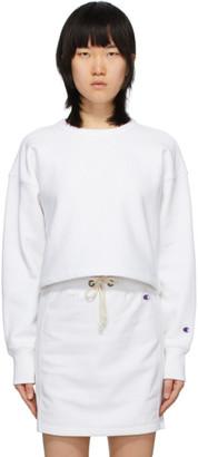 Champion Reverse Weave White Cropped Crewneck Sweatshirt