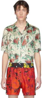 Dries Van Noten Off-White and Multicolor Floral Pocket Shirt