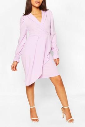 boohoo Petite Wrap Front Volume Sleeve Blazer Dress