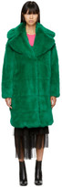 MSGM Green Long Faux Fur Coat