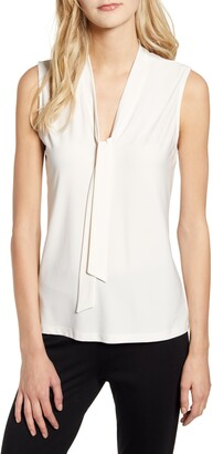 Anne Klein Sleeveless V-Neck Tie Front Blouse