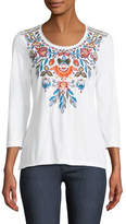 Johnny Was Izamal Embroidered-Yoke T-Shirt