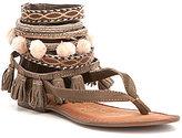 Naughty Monkey Adriana Pom Pom Tassled Leather Sandals