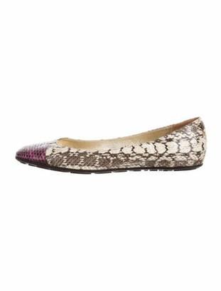 Jimmy Choo Snakeskin Animal Print Ballet Flats