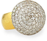 Gurhan 24k Gold Lentil Ice Diamond Cocktail Ring, Size 6.5