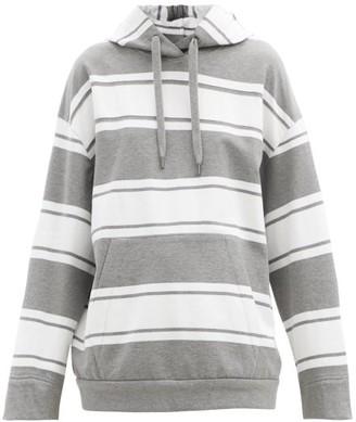 Brunello Cucinelli Monili-trim Striped Cotton-blend Hooded Sweatshirt - Grey White
