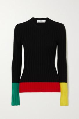 J.W.Anderson Color-block Ribbed Merino Wool Sweater