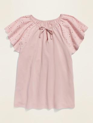 Old Navy Eyelet Flutter-Sleeve Jersey-Knit Top for Girls