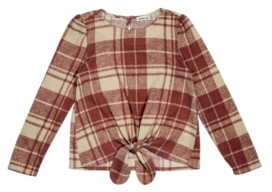 Monteau Big Girls Hachi Long Sleeve Tie Front with Plaid Print Top