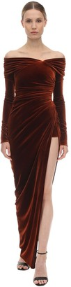 Alexandre Vauthier Long Off Shoulder Stretch Velvet Dress