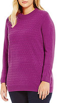 Allison Daley Plus Mock Neck Solid Pullover