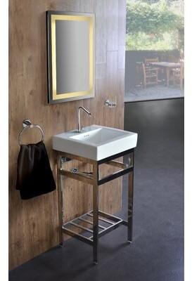 "Bronx Ivy Arverne Stainless Steel Open Console 18"" Single Bathroom Vanity Set Ivy Base Finish: Polished"