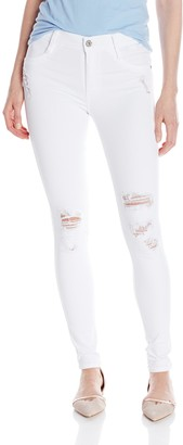 James Jeans Women's James Twiggy Ultra Flex Legging Jean in White Clean Distressed 25