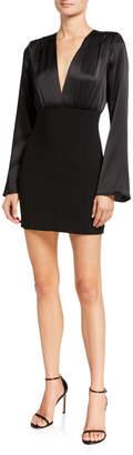 Cinq à Sept Sandy Plunging Flare-Sleeve Short Dress