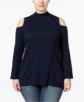Style&Co. Style & Co. Plus Size Mock-Neck Cold-Shoulder Top, Only at Macy's
