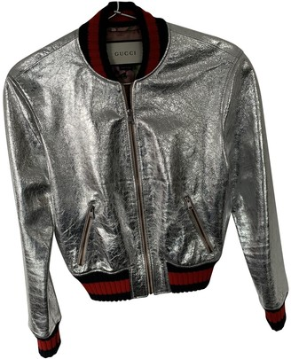 Gucci Silver Leather Jackets