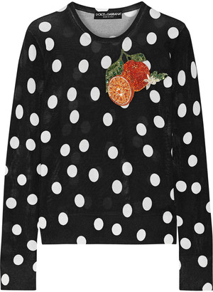 Dolce & Gabbana Appliqued Polka-dot Silk Sweater