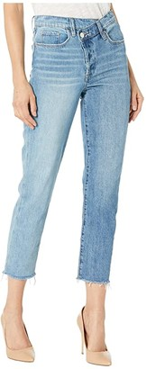 Blank NYC Denim High-Rise Straight Leg Jeans with Button Detail in Showstopper