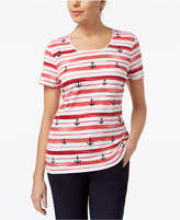 Karen Scott Petite Cotton Anchor-Stripe T-Shirt, Created for Macy's