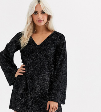 ASOS DESIGN Petite tinsel smock mini dress with bell sleeves