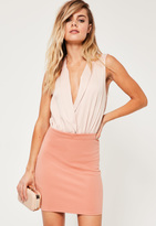 Missguided Petite Pink Scuba Mini Skirt