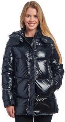 Fleet Street Women's Faux Down Puffer Coat with Fancy Pocket Details