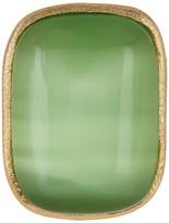 Rivka Friedman 18K Gold Clad Cabochon Lime Cat&s Eye Crystal Satin Ring