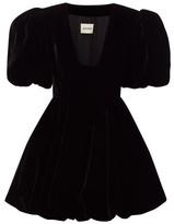 KHAITE Leona Puffed-sleeve Velvet Mini Dress - Womens - Black