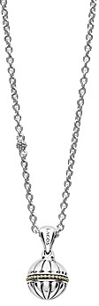 Lagos 18K Gold & Sterling Silver Caviar Talisman Beaded Band Ball Link Necklace, 32