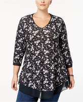 Style&Co. Style & Co Plus Size Printed Sheer-Hem Swing Top, Created for Macy's