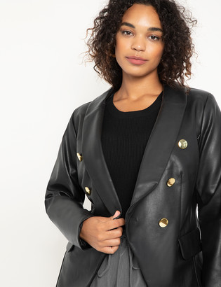 ELOQUII Double Breasted Faux Leather Blazer