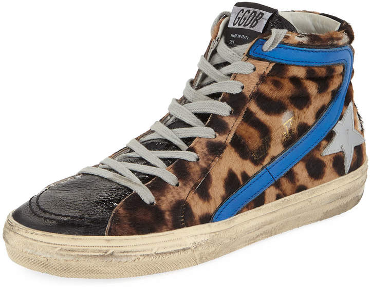 Golden Goose Slide Leopard High-Top Sneakers