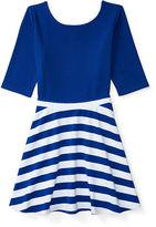 Ralph Lauren 7-16 Ponte Top & Striped Skirt Set