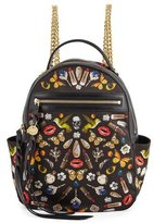 Alexander McQueen Obsession-Print Small Chain Backpack, Black/Multi