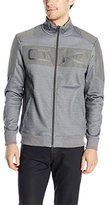 Calvin Klein Men's Full Zip Fleece with Mesh Overlay and Large Logo Embroidery
