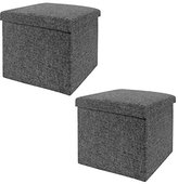 Seville Classics Foldable Storage Cube/Ottoman, CHARCOAL Grey (2-Pack),