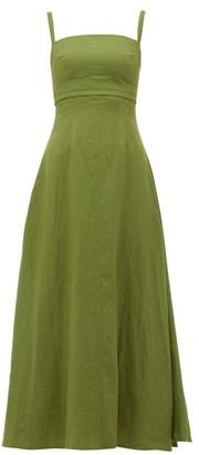 Emilia Wickstead Freya Square-neck Linen Dress - Womens - Khaki