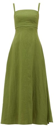 Emilia Wickstead Freya Square-neck Linen Midi Dress - Womens - Khaki