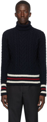 Thom Browne Navy Mohair Aran Turtleneck