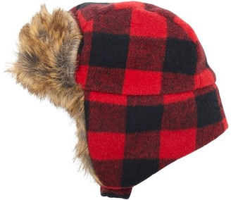 Buffalo David Bitton IndigoBaby Baby Trapper Hat Plaid Black and Red 6 to 12 Months