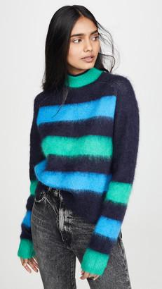 Proenza Schouler Pswl Long Sleeve Brushed Stripe Sweater
