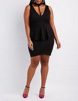 Charlotte Russe Plus Size Mock Neck T-Strap Peplum Dress